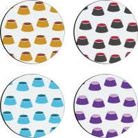 Sajawathomes Colorfull Pattern Set Of Four Design 69 Wood Coaster Set (Pack Of 4)