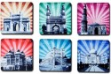 Eco Corner Monuments Of India Sunburst MDF Coaster Set - Pack Of 6