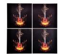 Indigo Creatives Electric Guitar Motiff Bar Glass Table MDF Coaster Set - Pack Of 4