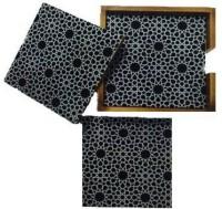 Amraai Square Acrylic, Wood Coaster Set Black, White, Pack Of 5