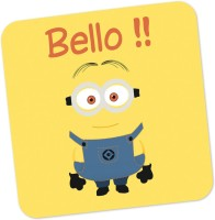 PosterGuy Bello Despicable Me Inspired Minion Movie Inspired Wood Coaster Yellow, Blue, Pack Of 1