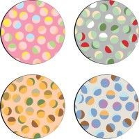 Sajawathomes Colorfull Pattern Set Of Four Design 54 Wood Coaster Set (Pack Of 4)