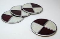 Creative Delights Brown-n-Cream Round Aluminium Metal Coaster Set (Pack Of 4)