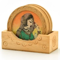 Jaipur Raga Rajasthani Art Wood Coaster Set Brown, Pack Of 7 - COAE74H8JPFBZYNH