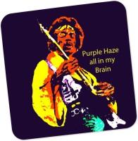 PosterGuy Purple Haze Jimi Hendrix Graphic Illustration Wood Coaster Multicolor, Pack Of 1