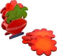 ECraftIndia Round Wood Coaster Set Red, Green, Orange, Pack Of 6