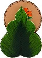 ECraftIndia Round Wood Coaster Set Brown, Green, Pack Of 6