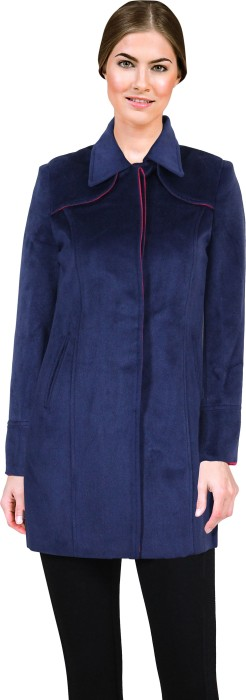 Lady Stark Navy Blue-Pink Women's Single Breasted Top Coat