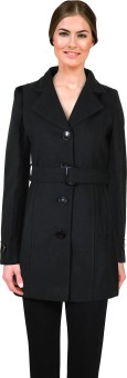 Lady Stark Black Overcoat With Belt Women's Single Breasted Top Coat Coat