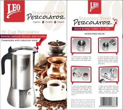 Leo Retail Concepts LCP10C1 10 Cups Espresso Coffee Maker (Silver)