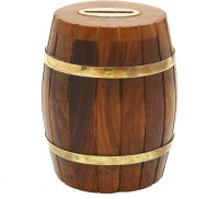 Dolphy Inspired Barrel Shaped Wooden Coin Bank (Brown)