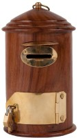 Pindia Beautiful & Fancy Wooden Letterbox Shaped Money Coin Bank (Brown, Gold)