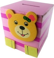 Klassik Square Shape Bear Coin Bank (Pink)