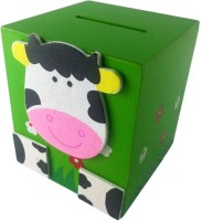 Klassik Square Shape Cow Coin Bank (Green)