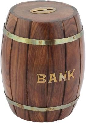 Woodpedlar Coin Banks Woodpedlar Wooden Handicraft dholak ShapedTredy Children Piggy Money Coin Bank