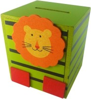Klassik Square Shape Lion Coin Bank (Green)