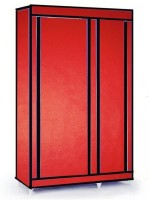 MSE Leatherette Collapsible Wardrobe (Finish Color - Chilly Red) - CWDEM4H53BGVVATK
