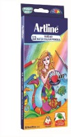 Artline Water Soluble Triangular 12 Triangular Shaped Color Pencils (Set Of 1, Multicolor)