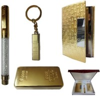 Dharohar The Heritage All 24k Gold Plated – Crystal Pen, Visiting Card Holder, Gold Bar Shape Paper Weight And Key Holder – Combo Corporate Set-III Combo Set (Set Of 4)