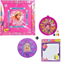 Barbie Gift Pack Of Carrom Board, Flying Disc, Magnetic Dart And Writing Board Combo Set