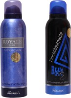 Rasasi Royale Blue Men::Blue Incontournable Combo Set (Set Of 2)