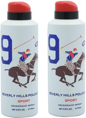 Beverly Hills Polo Club Sport 9 Deodorant Spray-White Combo Set (Set Of 2)