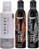 Park Avenue Impact Magnifico,Urbane,Voyage Prefumed Deodorants Pack Of 3 For Men Combo Set (Set Of 3)