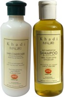 Khadi Mauri Anti Dandruff Shampoo & Herbal Hair Conditioner Combo Pack Of 2 Ayurvedic Natural 210 Ml Each (Set Of 2)