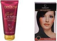 Oxyglow Golden Glow Gold & Saffron Face Wash & Hair Colour Cream-Black 175gm (Set Of 2)
