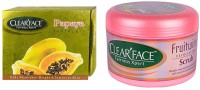 Clear Face Papaya Facial Kit & Fruit Wine Exfloiting Scrub (Set Of 2)