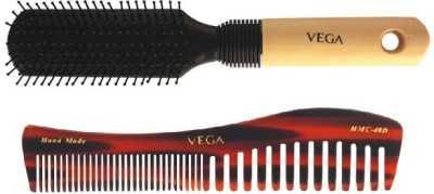 Vega Premium Flat Hair Brush E8-Fb With Shampoo Comb Hmc 48d (Set Of 2)