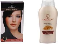 Oxyglow Hair Colour Cream-Black & Ginger & Honey Shampoo (Set Of 2)
