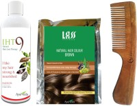Lass Naturals Iht9 Hair Oil With Iht9 Natural Brown Hair Colour +Neem Wood Hair Comb LC-1 (Set Of 3)