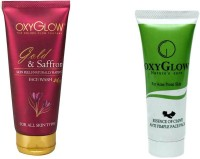 Oxyglow Golden Glow Gold & Saffron Face Wash & Essence Of Clove Anti Pimple Face Pack 35gm (Set Of 2)