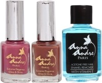 Anna Andre Paris Nail Polish - Raspberry Truffle Duo Set & Nail Polish Remover (Set Of 3)