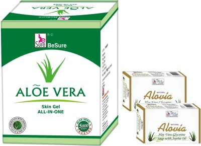 Besure Aloevera Skin Gel and Aloe Vera Soap Set of 3