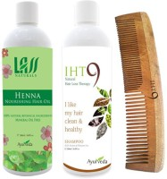Lass Naturals Henna Hair Oil With Iht9 Hair Regrowth Shampoo+Neem Wood Hair Comb LC-2 (Set Of 3)