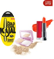 Maybelline The Colossal Kajal With Compact Powder And Color Show Lip Color (Set Of 3)
