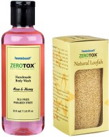 Healthbuddy Zerotox Handmade Body Wash Rose & Honey, 210 Ml & Natural Loofah (Set Of 2)