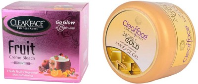 Clear Face Fruit Cream Bleach With 24 Carat Gold Dust Almond Oil Massage Gel (Set Of 2)