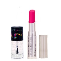 Color Fever 948 Topcoat Nail Polish+Neon Pink Lipstick (Set Of 2)