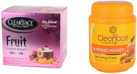 Clear Face Fruit Cream Bleach With Almond Honey Nourishing Cream (Set Of 2)