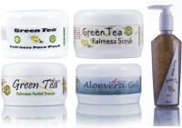Adidev Herbals Herbal Skin Brightening Green Tea Fairness Face Pack (Set Of 5)