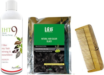 Lass Naturals Iht9 Hair Oil With Iht9 Natural Black Hair Colour +Neem Wood Hair Comb LC-3 (Set Of 3)