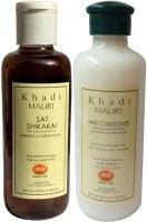 Khadi Mauri Shikakai Sat Shampoo & Herbal Hair Conditioner Combo Pack Of 2 Ayurvedic Natural 210 Ml Each (Set Of 2)