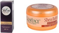 Clear Face Make Up Foundation With Spf 15 & Shea Butter Moisturising Cream (Set Of 2)