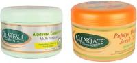 Clear Face Aloevera Cucumber Multi Purpose Facial Cream With Papaya Orange Scrub Gel (Set Of 2)