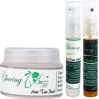 Glowing Buzz Combo Of 1 Natural Anti Tan Pack For Face, Dark Under Arms And Hands, 1 Tea Tree Essential Oil And 1 Neem Essential Oil (Set Of 3)