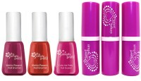 Avon Color Bliss Lipstick (set Of 3 Of 4 G Each) + Merry & Bright Nail Enamel (set Of 3 Of 5 Ml Each) (Set Of 6)
