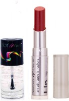 Color Fever 944 Topcoat Nail Polish+Dark Red Lipstick (Set Of 2)